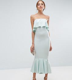 Платье миди с лифом-бандо и оборками ASOS TALL - Зеленый
