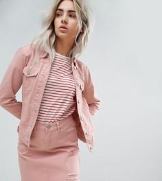 Розовая джинсовая куртка с потертой отделкой Urban Bliss Petite - Розовый