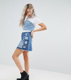 Джинсовая мини-юбка с кружевной и рваной отделкой с заплатками Urban Bliss Petite - Мульти