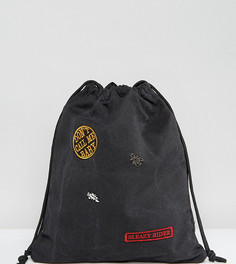 Выбеленный джинсовый рюкзак на шнурке и нашивкой Sleazy Rider Sacred Hawk - Черный