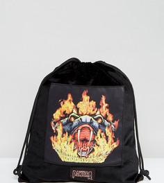 Рюкзак из искусственного меха пантеры со шнурком Sacred Hawk - Черный