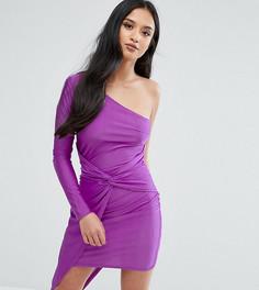 Платье мини на одно плечо с запахом Naanaa Petite - Фиолетовый