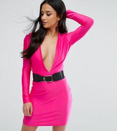Облегающее платье мини с ремнем NaaNaa Petite - Розовый