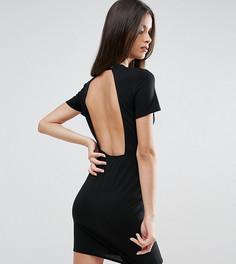 Облегающее платье-футболка мини с открытой спиной ASOS PETITE - Черный