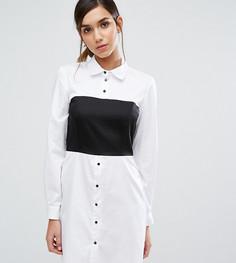 Платье-рубашка со вставкой и длинными рукавами Closet London - Черный
