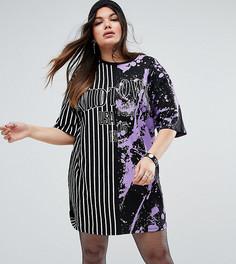 Платье-футболка с комбинированным принтом ASOS CURVE - Мульти