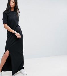Платье-футболка макси в стиле casual от ASOS PETITE - Черный