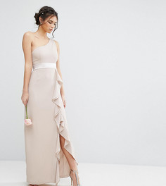 Платье макси на одно плечо с оборкой TFNC WEDDING - Коричневый