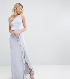 Платье макси на одно плечо с оборкой TFNC WEDDING - Синий