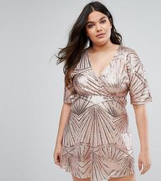 Короткое приталенное платье с пайетками Club L Plus - Розовый