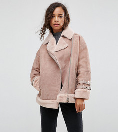 Замшевая куртка-авиатор с искусственной овечьей шерстью ASOS PETITE - Розовый