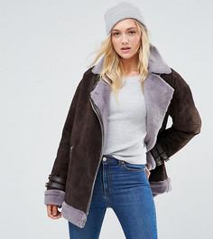 Замшевая куртка-авиатор с искусственной овечьей шерстью ASOS TALL - Коричневый