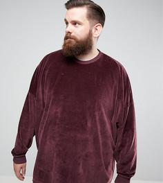 Велюровый oversize-свитшот ASOS PLUS - Красный