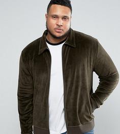 Трикотажная куртка Харрингтон из велюра ASOS PLUS - Зеленый