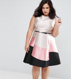 Платье в стиле колор блок без рукавов Coast Plus - Розовый