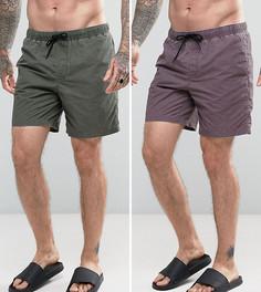2 шортов для плавания средней длины с эффектом кислотной стирки (фиолетовый/хаки) ASOS - Мульти