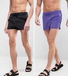 2 пары коротких шортов для плавания (фиолетовые, черные) ASOS - Мульти