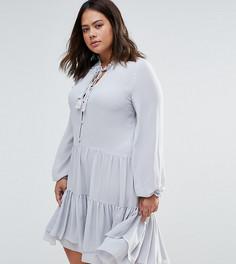 Платье-рубашка с оборкой по краю Alice & You - Серый