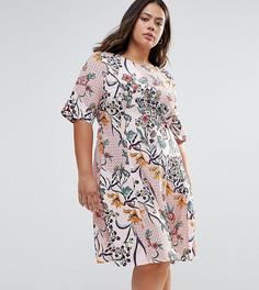 Короткое приталенное платье с цветочным принтом Alice & You - Розовый