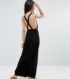 Трикотажное пляжное платье макси ASOS PETITE - Черный