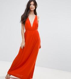 Трикотажное пляжное платье макси ASOS PETITE - Оранжевый