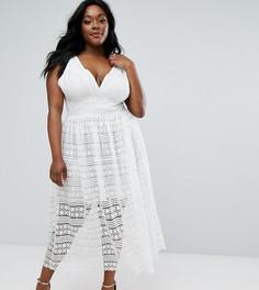 Приталенное платье миди с кружевной отделкой Truly You - Белый