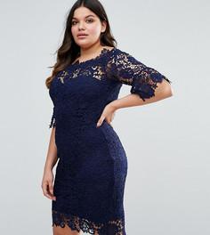 Кружевное платье с вырезом лодочкой Paper Dolls Plus - Темно-синий
