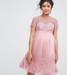 Платье-премиум для выпускного с вышивкой и юбкой из тюля Chi Chi London Maternity - Розовый