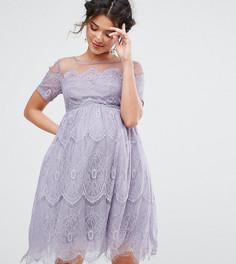 Платье с кружевным топом и юбкой из тюля Chi Chi London Maternity - Фиолетовый