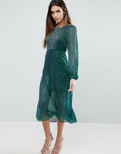 Блестящее платье миди с длинными рукавами Traffic People - Зеленый