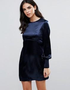 Атласное цельнокройное платье с пышными рукавами Traffic People - Темно-синий