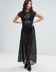 Кружевное платье макси Traffic People - Черный