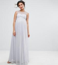 Платье макси с искусственным жемчугом на лифе Little Mistress Maternity - Серый