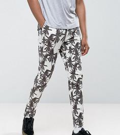 Зауженные укороченные брюки с пальмовым принтом ASOS TALL - Светло-серый
