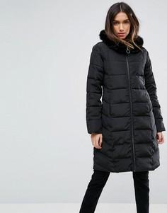 Длинное стеганое пальто с искусственным мехом ASOS - Черный