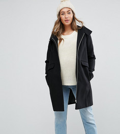 Узкое пальто с капюшоном и молнией ASOS MATERNITY - Черный