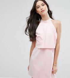 Платье мини с укороченным топом и высоким воротом ASOS PETITE - Розовый