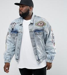 Синяя свободная джинсовая куртка с вышивкой ASOS PLUS - Синий