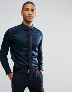 Строгая приталенная рубашка из эластичного материала Ted Baker - Темно-синий