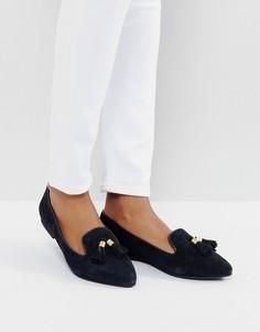 Замшевые туфли на плоской подошве с кисточками Park Lane - Черный
