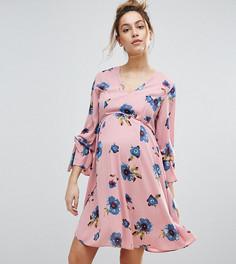 Свободное платье с отделкой на рукавах и цветочным принтом Queen Bee - Мульти