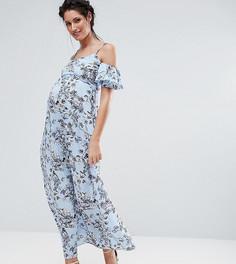 Платье макси с цветочным принтом и открытыми плечами Queen Bee - Синий