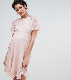 Кружевное платье с оборкой на кромке Queen Bee - Розовый