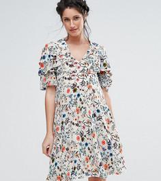 Чайное платье с оборкой Queen Bee - Кремовый