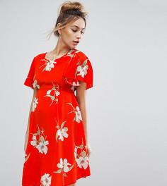 Чайное платье с цветочным принтом и завязкой на спине Queen Bee - Красный
