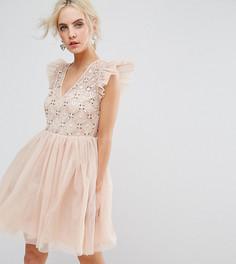 Платье мини из тюля ASOS PETITE - Розовый