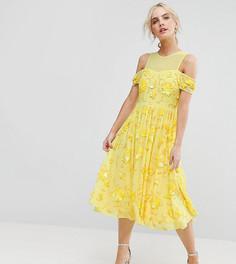 Платье миди с отделкой и вырезом ASOS PETITE - Желтый