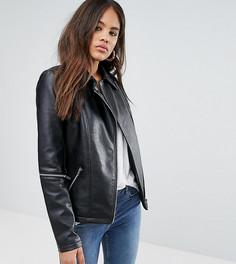 Куртка из искусственной кожи с молниями на рукавах ASOS TALL - Черный