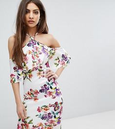 Платье миди с халтером и разноцветным цветочным принтом Lipsy - Мульти