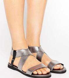 Кожаные сандалии металлик для широкой стопы New Look - Серый